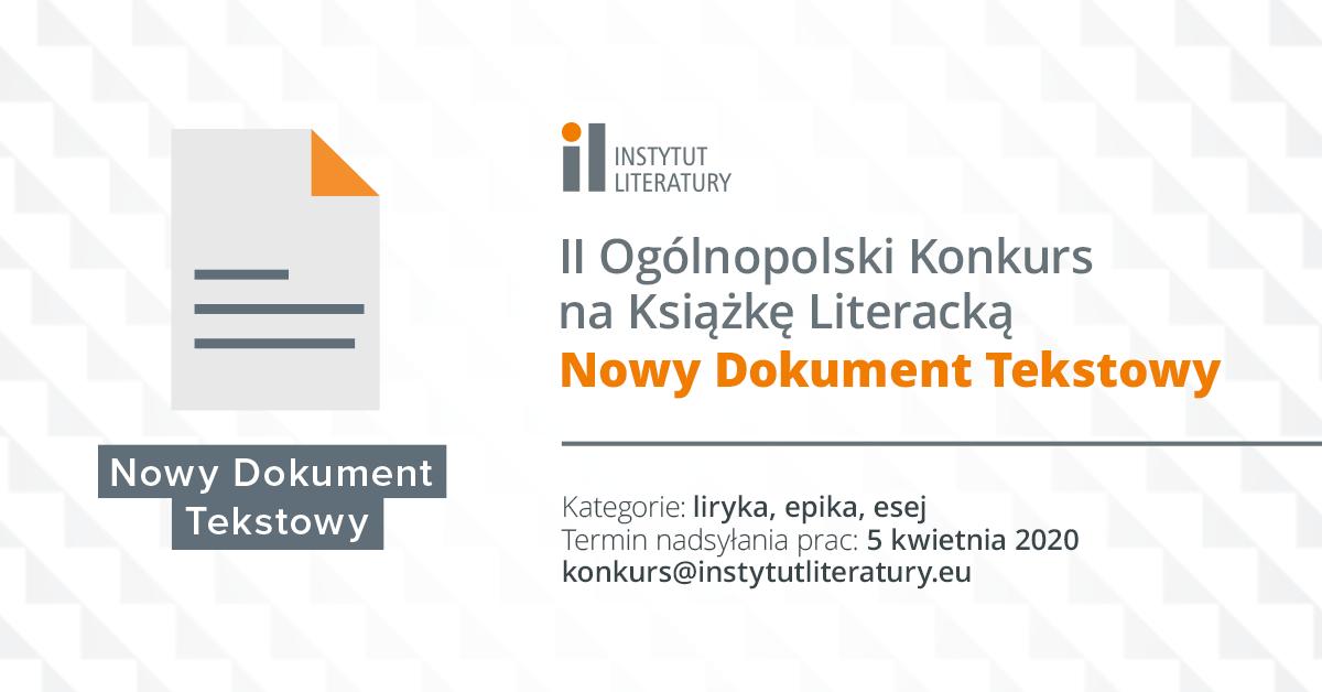 Ii Ogólnopolski Konkurs Na Książkę Literacką Nowy Dokument